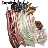 Suyadream Femmes Silk Sailkdress 100% Véritable Soie Satin Satin Sangle de Spaghetti Long Nights Summer Neuf Maison Robes 210317
