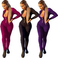 Women long sleeve Jumpsuits fall winter clothes plus size 2XL zipper front Rompers Casual print Overalls sexy skinny bodysuits Sports leggings 5869