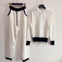 Kadın İki Parçalı Pantolon 2021 Sonbahar Kapüşonlu Uzun Kollu Baskı Panelli Ceket ve Marka Aynı Stil Giyim 0806-6
