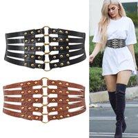 Belts Feminine Charm Belt Metal Buckle Statement Ladies Fashion Rivet Wide Waist Elastic PU