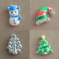 DOYUBO Belle alliage de zinc Noël bricolage bonhomme de neige / chapeau de Noël / charmes d'arbre de Noël pour assortir les médaillons de verre bijoux F646