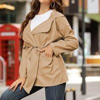 Женские пальто с капюшоном с капюшоном Весна осень мода твердый тонкий ремень ветровка верхняя одежда женская уличная одежда 2021