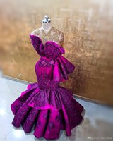 Aso Ebi 2021 Arabic Purple Luxurious Evening Dresses Sheer Neck Lace Beaded Prom Dress Mermaid Formal Party Bridesmaid Pageant Gowns