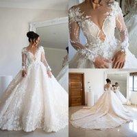 Luxury 2022 A Line Wedding Gowns 3D Floral Lace Appliqued Beaded Long Sleeve Plus Size Country Style Bridal Dresses Vestidos De Novia
