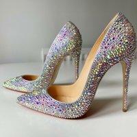 Frete grátis moda mulheres designer casual strass Cristal Point Toe Bombas de salto alto Sapatos Stiletto 12cm 10 cm 8cm noiva de casamento sapatos de festa de casamento