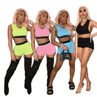 Frauen Sport Trainingsanzug Yoga 2 Stück Sets Sommerkleidung Sleeveless Crop Top + Mini Shorts Casual Laufing Klage Solide Farbe Outfits 4603
