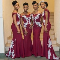 Burgundy African Bridesmaid Dresses Plus Size Off The Shoulder White Lace Mermaid Wedding Guest Dress Cheap Prom Evening Gowns