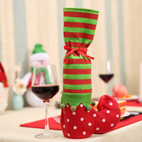 Сторона поставляет рождественские волны точка полосатая вина бутылка подарок конфеты сумка рождественский стул ноги крышка дома праздник украшения оптом