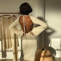Casual Dresses Ggbaofan Apricot Elegant Flare Sleeve Backless Long Maxi Fashion Sexy Outfits Robe Tie Up Skinny Clothes Autumn