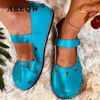 McCkle 2020 Summer Femmes Chaussures plates Dames Candy Couleurs Couleurs PU Sandales en Cuir Femme Appartements Retro Soft Femme Chaussures Plat Locaafers Z0GZ #