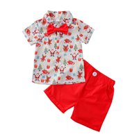 Christmas Kids Clothing Sets Boys Suit Child Clothes Summer Cotton Short Sleeve bow tie Printed Shirt Shorts Pants 2Pcs Two-Piece B7605