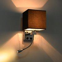 Lâmpada de parede Moderna cama curta luzes Costas de tecido Luz 1W LED 1OR2 Spot Noite Tubing Rocker Leitura