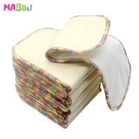 MABOJ 10pcs 4 capas cáñamo de bambú Pañal de algodón inserto reutilizable eco amigable los pañales ecológicos para pañales de bolsillo pañales coloridos 210312