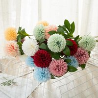 Flores artificiales Tenis de tenis Chrysanthemum Decoración del hogar Flower Dandelion Decoración de la boda Arreglo Flor DWB11315