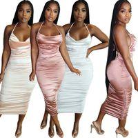أومي نوعية جيدة الصلبة اللون فساتين الصيف النساء 2021 شنقا الرقبة عارية الذراعين أنيقة المرأة ruched اللباس