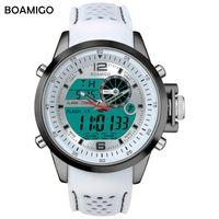 Наручные часы Boamigo Top Brand Men Sport Watches Многофункциональный светодиодный цифровой аналоговый кварц белый военный