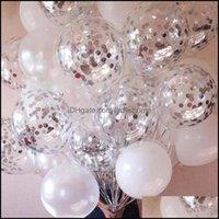 OTROS Suministros festivos Home GardEnGold Confetti Latex Globos Glitter Borde Transparent Helium Ball Baby Shower Boda Fiesta de cumpleaños