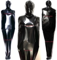 Unisex Sleepsacks Body Bags Full Outfit Black Shiny PVC Mummy Costumes Sexy Women Men Sleeping Bag Catsuit Costume Halloween Party Fancy Dress Cosplay Suit M819