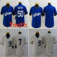 Молодежные дети 2021 область мечты Chate Connect 7 TIM Anderson Бейсбол майки 50 Mookie Betts рубашка белый синий сшитый размер S-XL