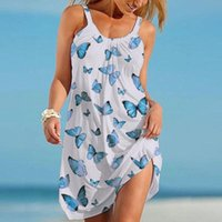 Casual Dresses Ladies Butterfly Print Dress Summer Short Sleeve O-neck Strap Midi For Women 2021 Fashion Beach Halter Backless