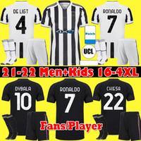 팬 선수 버전 21 22 유벤투스 호나우두 축구 유니폼 2021 2022 Dybala Morata Chiesa McKennie 축구 키트 셔츠 Juve Men + Kids