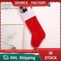 Christmas Stockings Decorations Santa's Socks High-End Short Velvet Plush Big Classic Red White Felt Candy Gift Bag Party Dress Xmas Tree Hanging Decoration DHL