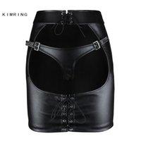 Kimring Gotik Deri Etek Büyük Göt Açık Butt Clubwear Mini Etek Seksi Sıkı Kalça Etek 210303