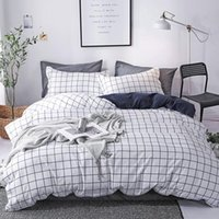 Bedding Sets 3 4Pcs Home Textile Lattice Soft Flat Sheet Fitted Sheet Duvet Cover Bedclothes Pillowcase Double Bedline