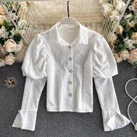 Elegante Frauen Bluse Puff Langarm Blumenstickerei Hemd Umdrehen Kragen Button Up Casual Damen Koreanische Style Shirts Top