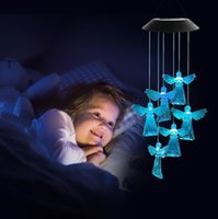 Decorative Objects & Figurines Room Decoration LED Solar Angel Wind Chime Lamp Home Garden Chandelier Wall Decor