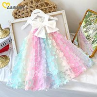 Girl's Dresses Ma&Baby 2-7Y Summer Child Kid Girls Flower Dress Rainbow Bow A Line For Girl Birthday Gift Costumes DD43