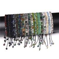 4mm pedra contas pulseira para mulheres ágatas naturais onyx lapis lazuli braceletes ajustáveis jóias 2935 Q2
