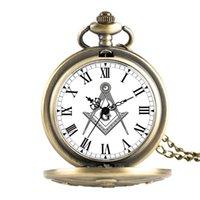 Antique Freemason G Dial Chrome Square and Compass Mason Masonic Necklace Pendant Quartz Pocket Watch Best Gifts for Freemason