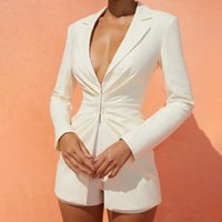 2022 Autumn Suit Jacket V-Neck Long Sleeved Solid Color Coat Waist Slim Women Office Workers Casual Wear