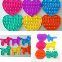 Free DHL Shipping Round Octagon Heart Dog Dinosaur Butterfly 2021 Push POP Bubble Stress Reliever Silicone Squishy POP it Fidget Toys H12509