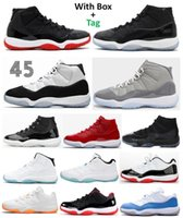 11 11S Bred Space Confiture Concord Cool Grey Basketball Chaussures Hommes Jubilee 25e Anniversaire Légende Blue Cap et Gîner Gym Rouge 72-10 Sneakers