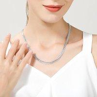 925 فضة سلسلة قلادة 6 ملليمتر الجانبية الكوبية الرابط قلادة للمرأة الرجال أزياء الزفاف الاشتباك مجوهرات 50 سنتيمتر