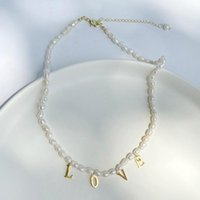 Chains Real Pearl Necklace Choker Letter LOVE Stainless Steel Gold Color Pendant Freshwater Couple Jewelry