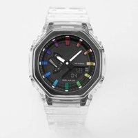 Спортивные кварцевые цифровые 2100 мужские часы светодиодный цифровой двойной дисплей Высокое качество маленькие руки могут работать