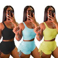 Sommer Frauen Jogger Anzug Tank Top Crop Top + Shorts Zweiteiler Set Plus Größe 2XL Outfits Outdoor Trainingsanzüge Beiläufige Schwarze Sportanzüge 4590