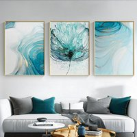 Paintings Modern Pink And Green Marble Canvas Painting Abstract Flowers Poster Print Gold Wall Art Picture For Living Room Home Decor