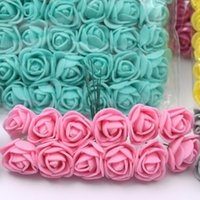144pcs PE sin encaje rosa espuma flores mini ramo oso de peluche rosa flor regalos bricolaje guirnalda artificial flor espuma fake