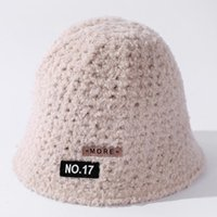 Wide Brim Hats YQYXCY Women Hat Winter Solid Color Embroidered Letter Fisherman Cap Bucket Female Korean Casual Keep Warm