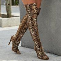 Kobiety Buty Wysokie Obcasy Spiczaste Prek węża Wzór Wysokie Buty nad kolanami Szczupła ciasne skarpetki Party Pompy Boot Lady Boot Knee High Boots B36S