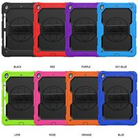 Thre-layer Protection PC Silicon Shockproof with Detachable Nylon Hand Shoulder Strap Case for Ipad Air Samsung T510 with Kick Stand