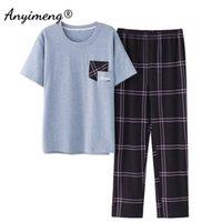 Плюс размер Pajamas 3XL 4XL спящая одежда с короткими рукавами длинные брюки хлопчатобумажные домохозяйственные досуг пижамы плед брюки мужчины летняя ночная одежда 210901