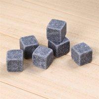 Kühler Natürlicher Rock Whisky Whisky 6 teile / satz Steine Seifenstein Eiswürfel mit Samt Aufbewahrungstasche 56AQ