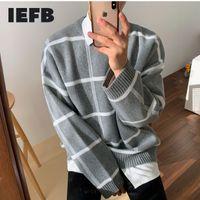 IEFB / HOMMES PORTÉE PLAID AUTOMNE WITNER NOUVEAU Style coréen Pull en vrac tricoté Tige Tape Top-Mtch Cintage 9Y3248