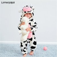 0-4 Year Baby Kawaii Romper Boy Girl Kigurumis Onesie Winter Warm Cozy Suit Animal Cow Costume Home Jumpsuit Child Funny Clothes 211008