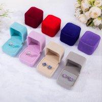 Bulk 11 cor caixas de presente de jóias de veludo para anéis casamento acoplamento casal embalagem quadrado mostra caixa caixa